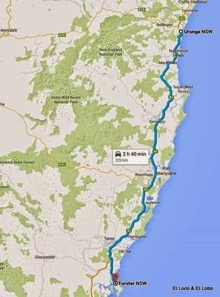 1-map - Urunga to Forster 229km