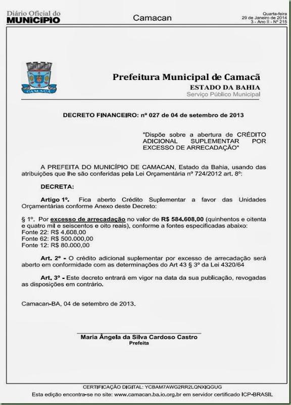 Decreto Financeiro 027