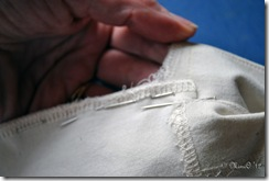 Sewing the center back seam prior to lapping the placket.