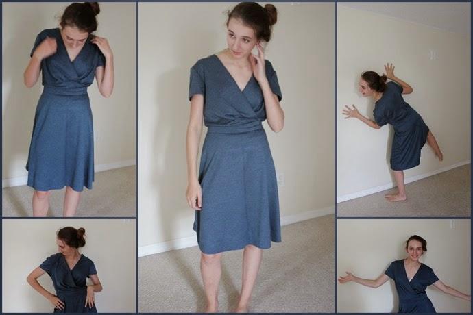 Blue faux wrapped dress1