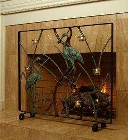 brass cranes decorative fireplace screen with candle holders