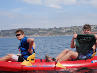 Ryker F. @ So Cal?!  Kayaking off the coast on a rockin roadtrip to California.