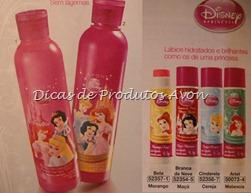 Shampoo, condicionador e brilho labial Princesas