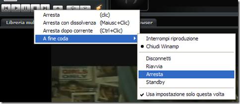 Winamp spegnimento automatico del PC