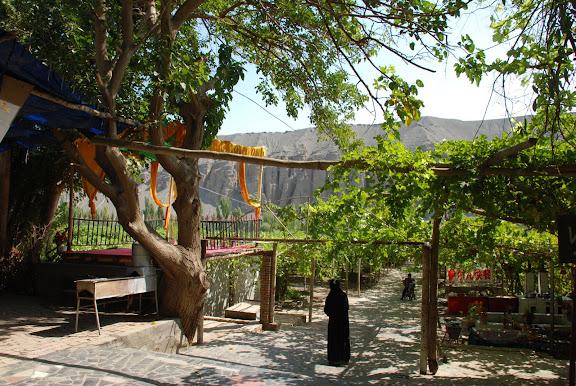 Turfan - Putaogou restaurant, vignes et montagne