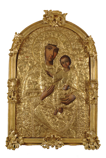 Mother of God of Hodigitria, Icon Painting Workshop of Kyiv-Pechersk Lavra, Kyiv, mid 18th century, copper, oil, gold leaf, wood, The National Kyiv-Pechersk Historical and Cultural Preserve