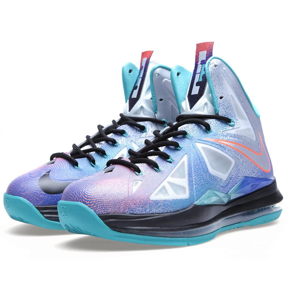 Nike LeBron X Re-Entry Sneakers (Pure Platinum/Black-Sport Turquoise)