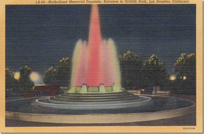 Mulholland Memorial Fountain, Entrance to Griffith park, Los Angeles, California Pg. 1