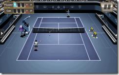 صورة من مباراة تنس على ملعب فى لعبة مدمنى التنس لأجهزة أندرويد