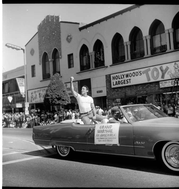 San Francisco Supervisor Harvey Milk as the Grand Marshall of the Christopher Street West pride parade in Los Angeles. June 1978.