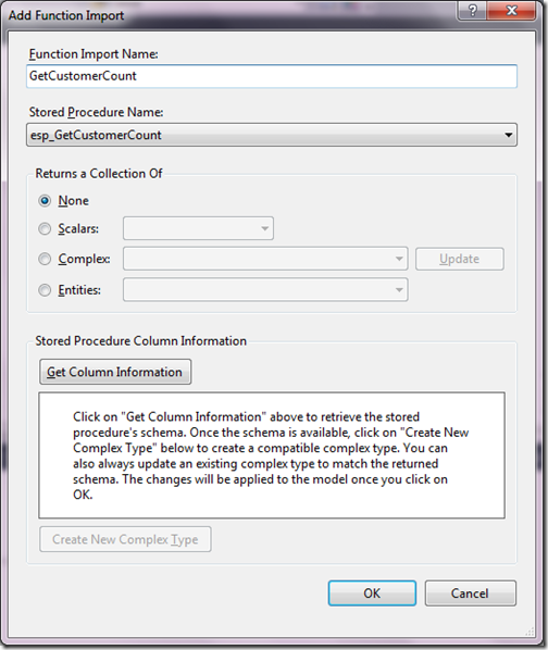 GetCustomerCount function for Entity framework stored procedure output parameter