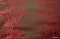 """Luksusowa trudnopalna tkanina z haftem. """"Tafta"""" butikowa. Na zasłony, poduszki, narzuty, dekoracje. Brązowa, czerwona."""