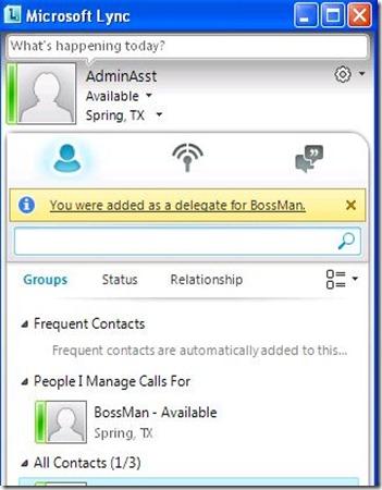 Lync Delegate - client Admin