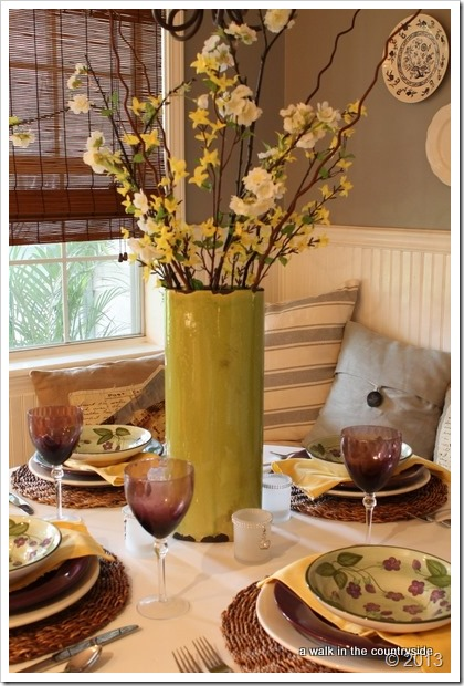 purple, green, and yellow tablescape