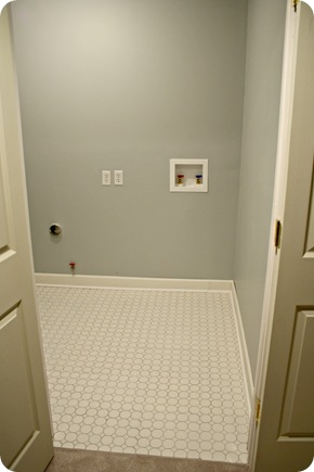 light gray laundry room white tile
