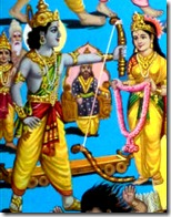 Rama lifting up Shiva's bow