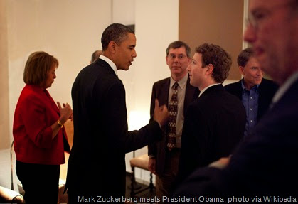 President Barack Obama talks with Facebook CEO Mark Zuckerberg before a dinner with Technology Business Leaders in Woodside, California, Feb. 17, 2011.  (Official White House Photo by Pete Souza) This official White House photograph is being made available only for publication by news organizations and/or for personal use printing by the subject(s) of the photograph. The photograph may not be manipulated in any way and may not be used in commercial or political materials, advertisements, emails, products, promotions that in any way suggests approval or endorsement of the President, the First Family, or the White House.