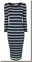 Jaeger Navy Striped Lurex Dress