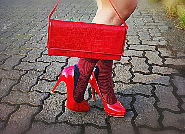 Aldo Red Shoes , Faux Snakeskin Red Bag
