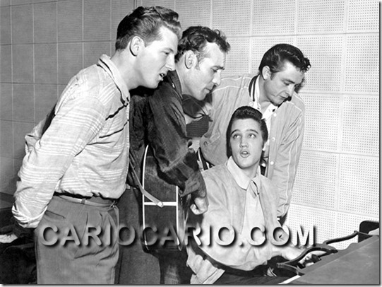 Elvis Presley, Carl Perkins, Jerry Lee Lewis e Johnny Cash