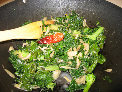 This simple side of shallots, chile, and kale—we subbed it in place of spinach—was a favorite (my sister served it at Thanksgiving). A little cream added at the end balanced the heat from the chile.