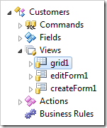 The first view in Customers data controller is 'grid1'.