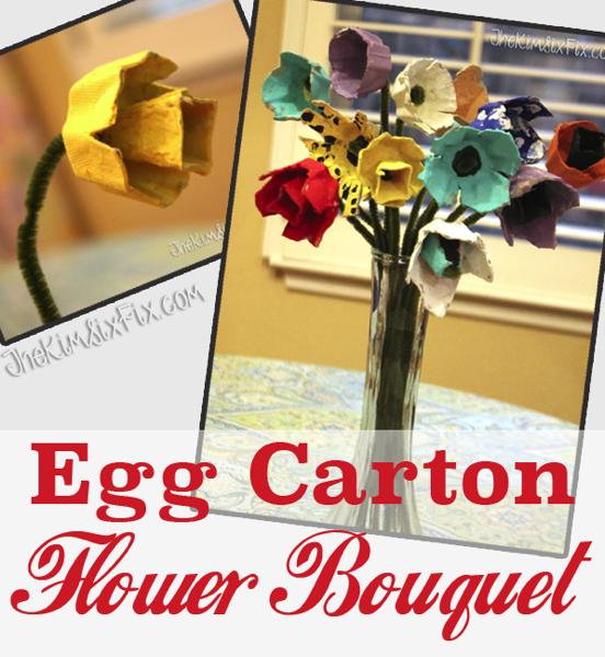 Egg Cartons turned Flower Boquet