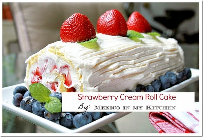 Strawberry cream roll cake
