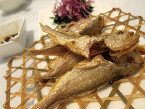 Crispy Small Yellow Croakers served with Balsamic Dressing