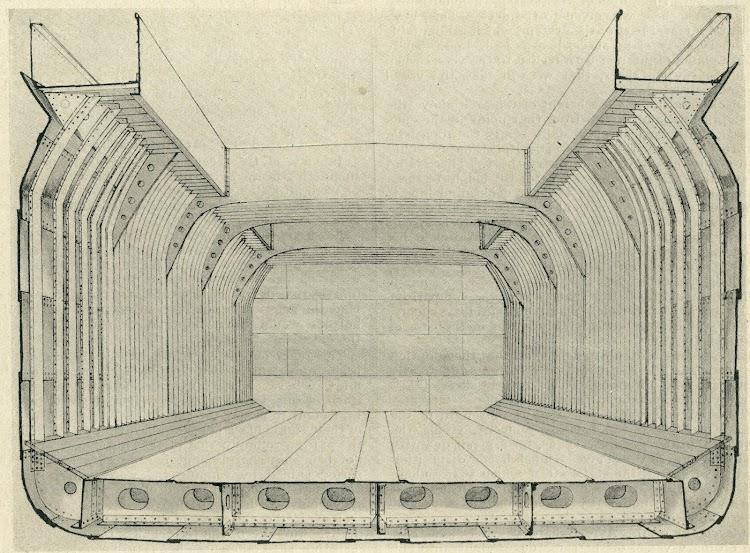 Seccion media del buque. Tipo de construcción Arch. Patente Ayre-Ballard. Foto de la revista The Marine Engineer and Naval Architect. Nº 424. January 1913.jpg