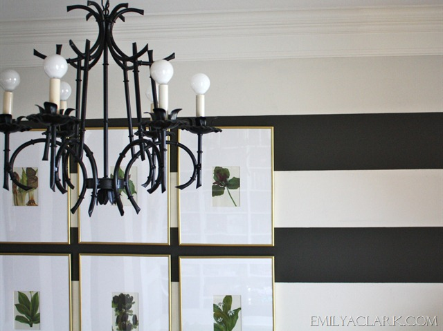 pagoda chandelier with botanical prints