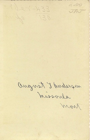 Cabinet Card August Anderson Maybe Missoula Mont DL Antiques back