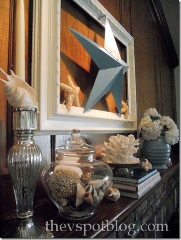 turquoise, mantel, frame, white, star, shells, silver