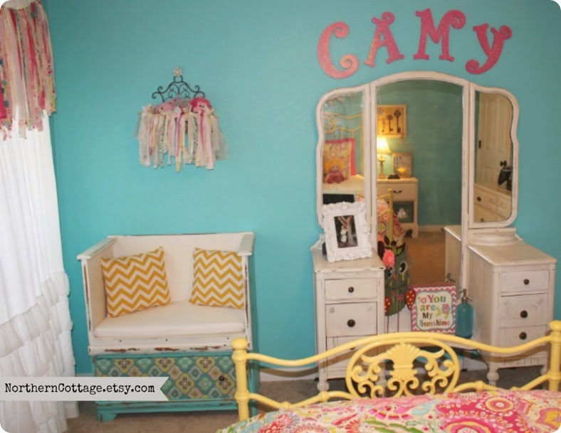 Colorful Bedroom featuring goodies from {NorthernCottage Shop}