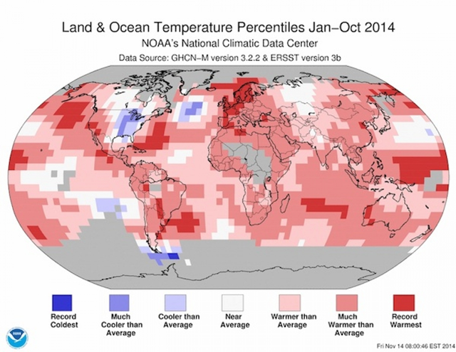 Global land and ocean temperature percentiles, January-October 2014. August, September, and October of 2014 all were the warmest such months on record. Graphic: NOAA / NCDC