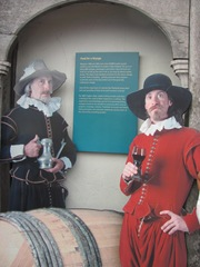 Plymouth Mayflower 8.13 2 men w drink sign