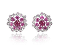 Pink Sapphire,Diamond and Ruby Earrings