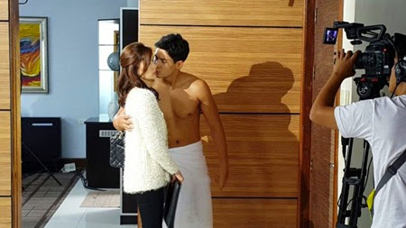 Erich Gonzales and Daniel Matsunaga on the set of Two Wives