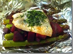 5.Baked salmon and roasted beets with asparagus