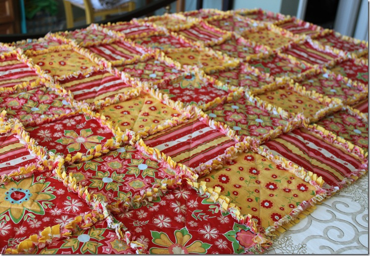 Rag Quilt Yellow and Red 042
