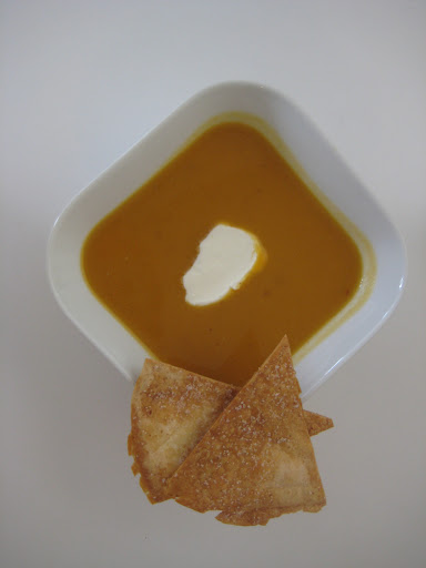sweet potato and chipotle soup with tortilla crisps