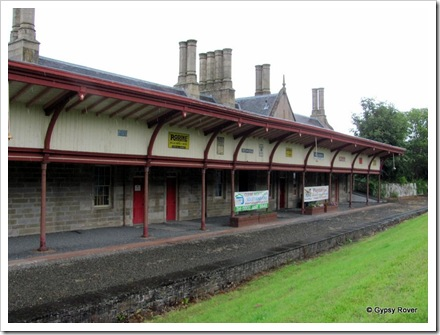 Melrose ex railway station closed in 1969. This was the Down platform. The A6091 now covers the Up platform.