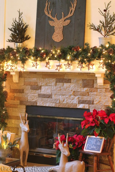 Rustic deer mantle
