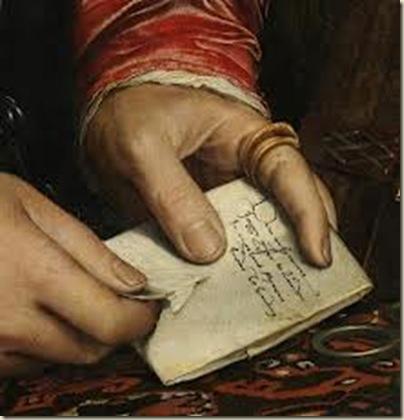Holbein, Portrait de Georg Gisze   ( détail )