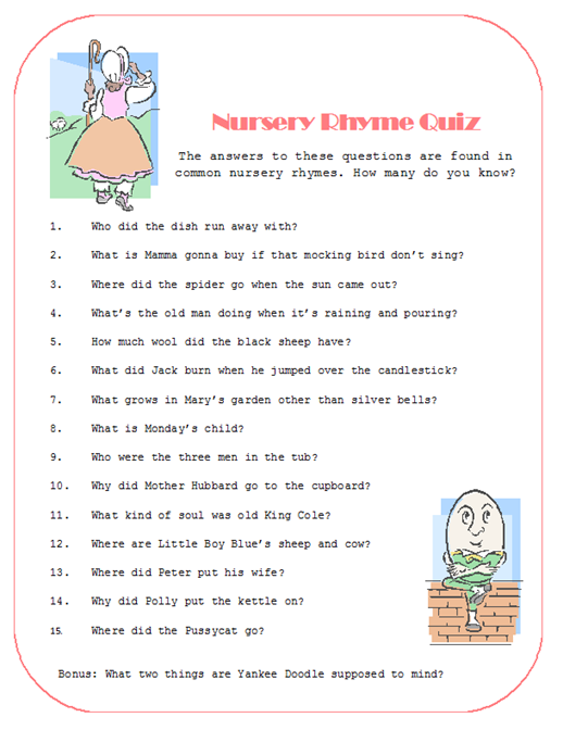 Nursery Rhyme Quiz