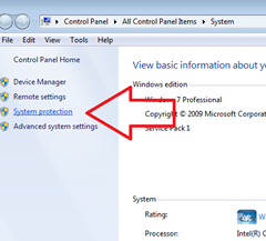 system protection ใน win 7