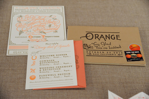 An orange-themed save the date from Ceci New York (www.CeciNewYork.com).