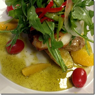Sea-Bass-Arugula-Peppers-Lemon-Vinegarette