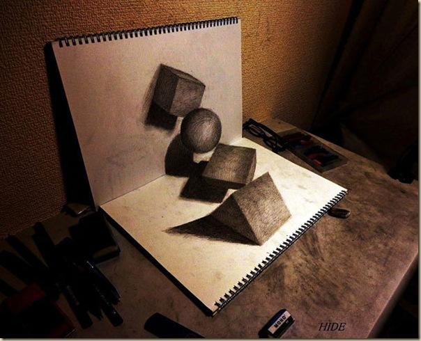 Incroyables dessins au crayon en 3D par Nagai Hideyuki-002