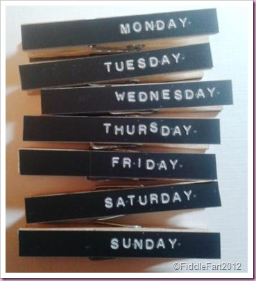 Days of the Week Peg Fridge Magnets